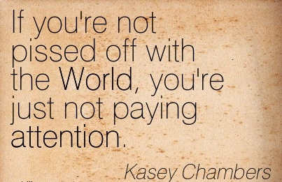 If You're Not Pissed Off With The World, You're Just Not Paying Attention. - Kasey Chambers