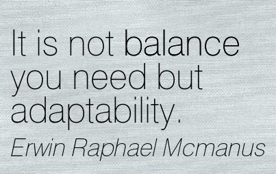 It Is Not Balance You Need But Adaptability. - Erwin Raphael Mcmanus