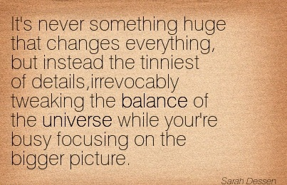 It's Never Something Huge That Changes Everything, But Instead The Tinniest Of Details, Irrevocably Tweaking The Balance Of The Universe While Your're Busy Focusing On The Bigger Picture. - Sarah Dessen