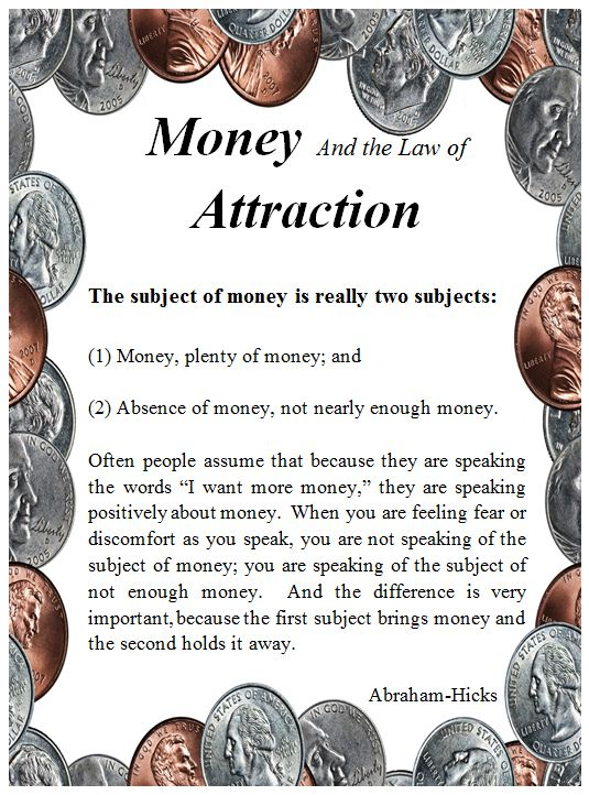 Money And The Law Of Attraction.