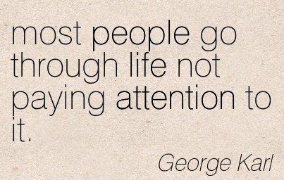 Most People Go Through Life Not Paying Attention To It. - George Karl
