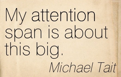 My Attention Span Is About This Big. - Michael Tait