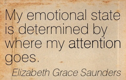 My Emotional State Is Determined By Where My Attention Goes. - Elizabeth Grace Saunders