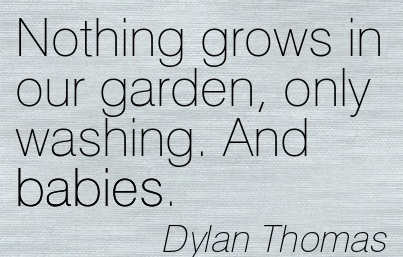 Nothing Grows In Our Garden, Only Washing. And Babies. - Dylan Thomas