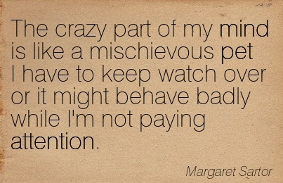 The Crazy Part Of My Mind Is Like A Mischievous Pet I Have To Keep Watch Over Or It Might Behave Badly While I'm Not Paying Attention. - Margaret Sartor