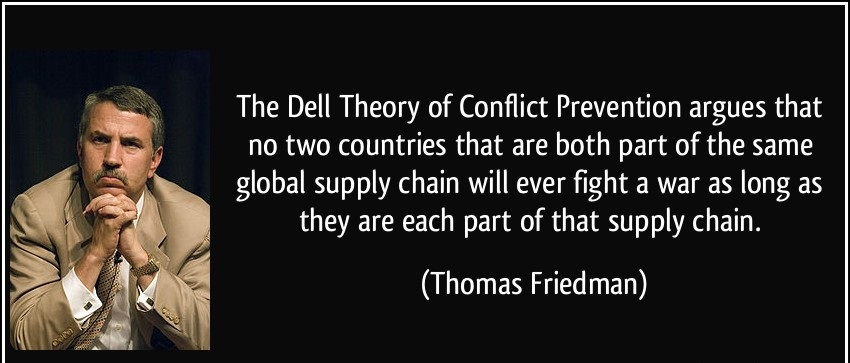 the dell theory of conflict prevention In this book, friedman ditches mcdonalds for another lemon, the dell theory of conflict prevention: no two countries that are both part of a major global supply chain, like dell's, will ever .