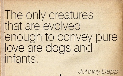 The Only Creatures That Are Evolved Enough To Convey Pure Love Are Dogs And Infants. - Johnny Depp