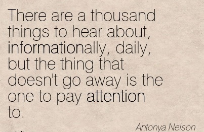 There Are A Thousand Things To Hear About, Informationally, Daily, But The Thing That Doesn't Go Away Is The One To Pay Attention To. - Antonya Nelson