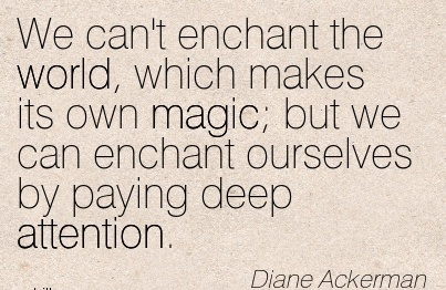 We Can't Enchant The World, Which Makes Its Own Magic; But We Can Enchant Ourselves By Paying Deep Attention. - Diane Ackerman