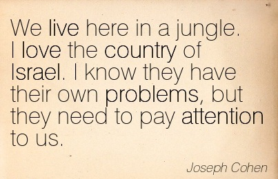 We Live Here In A Jungle. I Love The Country Of Israel. I Know They Have Their Own Problems, But They Need To Pay Attention To Us. - Joseph Cohen