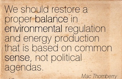 We Should Restore A Proper Balance In Evironmental Regulation And Energy Production That Is Based On Common Sense, Not Political Agendas. - Mac Thornberry