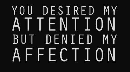 You Desired My Attention But Denied My Affection.