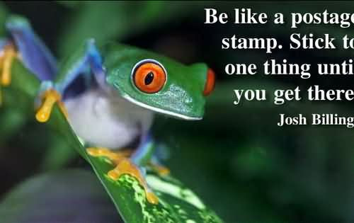 Be Like A Postage Stamps. Stick To One Thing Until You Get There.