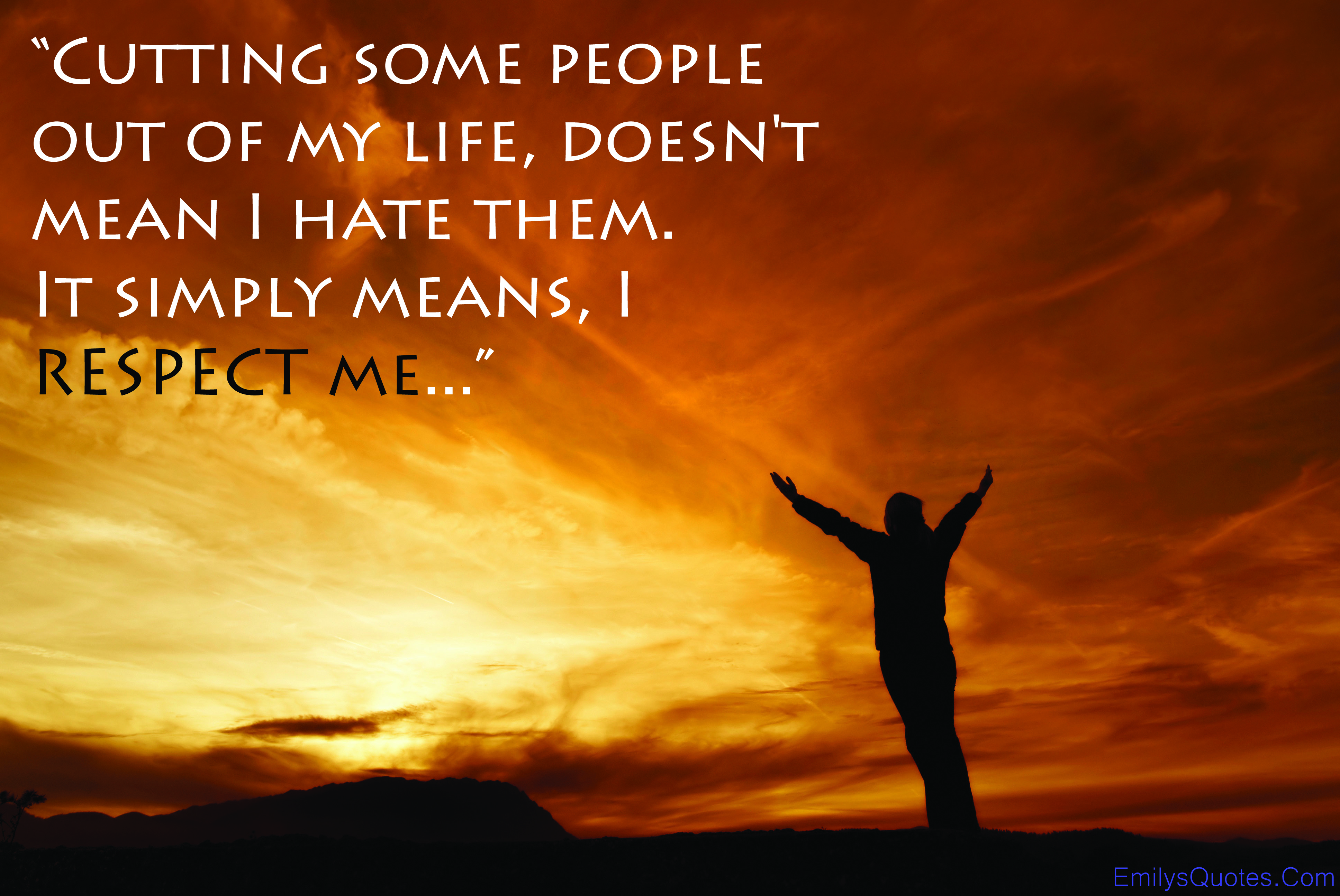 """Cutting Some People Out Of My LIfe, Doesn't Mean I Hate Them. It Simply Means, I Respect Me."""