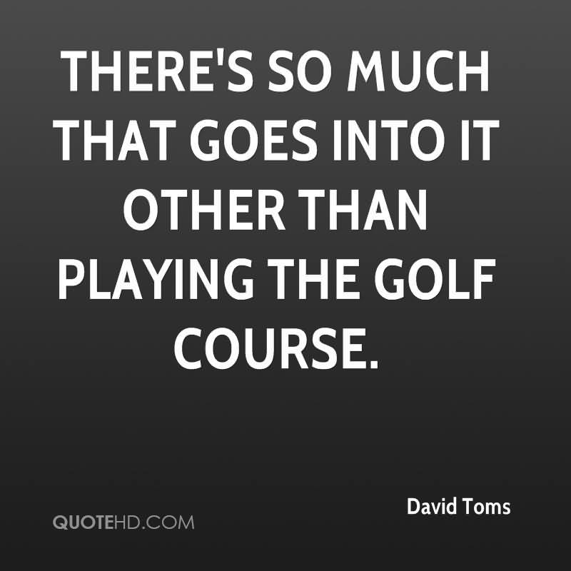 There's So Much That Goes Into It Other Than Playing The Golf  Course. - David Toms
