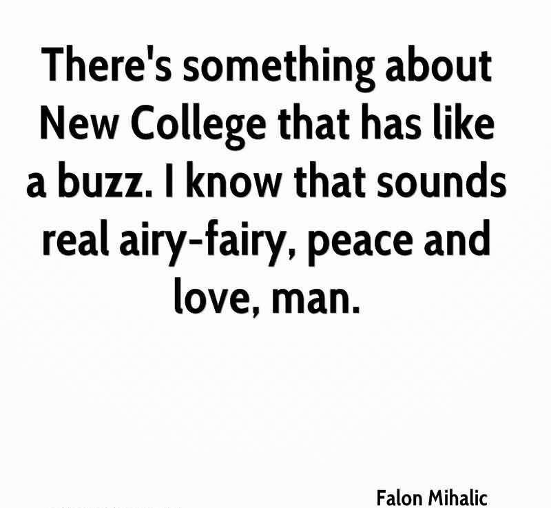 There's Something About New College That Has Like A Buzz. I Know That Sounds Real Airy-Fairy, Peace And Love, Man. - Falon Mihalic