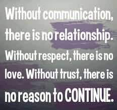 Without Communication There Is No Relationship. Without Respect, There Is No Love. Without Trust, There Is No Reason To Continue.1 - Communication Quotes