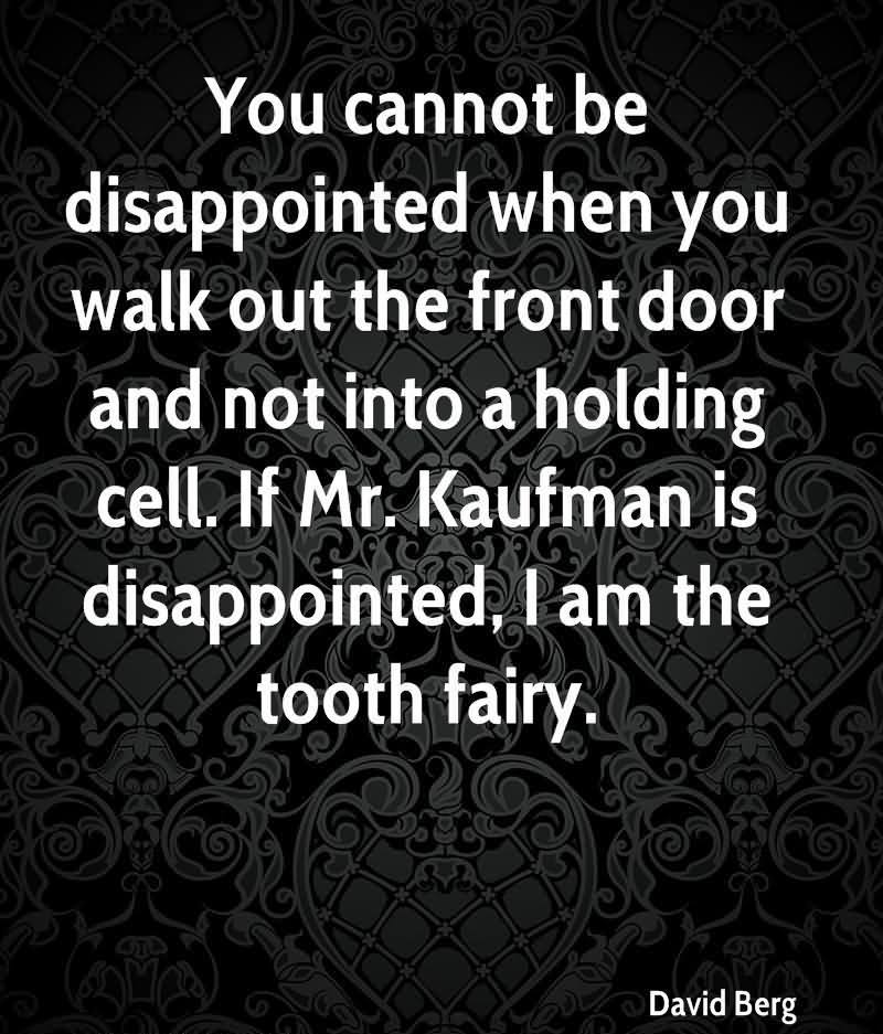 You Cannot Be Disappointed When You Walk Out The Front Door And Not Into A Holding Cell. If Mr. Kaufman Is Disappointed, I Am The Tooth Fairy. - David Berg