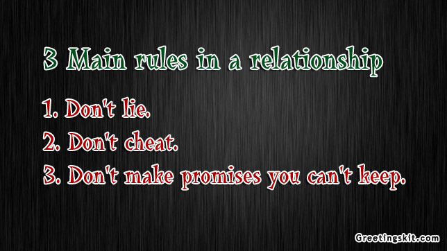 3 Main Rules in a relationship -Don't Cheat