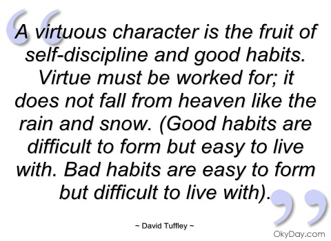 A Virtuous Character is the fruit of Slef Discipline And Good Habits…..Heaven Like The Rain And Snow.