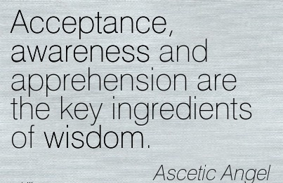 Acceptance, Awareness And Apprehension Are The Key Ingredients Of Wisdom. - Ascetic Angel