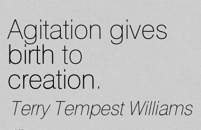 Agitation Gives Birth To Creation. - Terry Tempest Williams