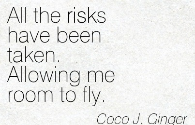 All The Risks Have Been Taken. Allowing me Room to Fly. - Coco J. Ginger