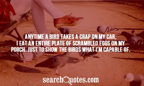 Anytime a bird takes a Crap on my Car, i eat And Entire Plate Of Scramble Eggs On my Porch.- Cheating Quote