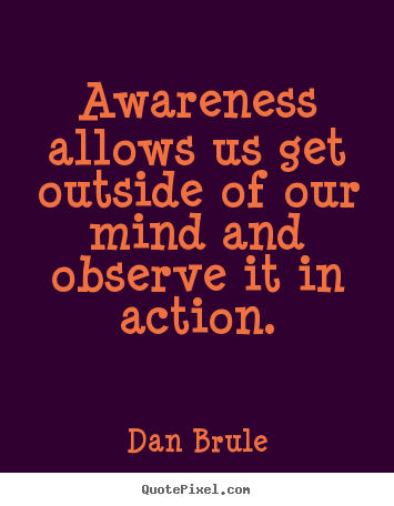 Awareness Allows Us Get Outside Of Our Mind And observe It In Action. - Dan Brule