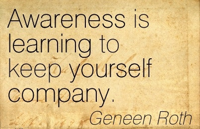 Awareness Is Learning To Keep Yourself Company. - Geneen Roth