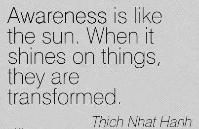 Awareness Is Like The Sun. When It Shines On Things, They Are Transformed. - Thich Hanh