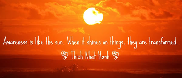 Awareness Is Like The Sun. When It Shines On Things, They Are Transformed. - Thich Nhat Hanh