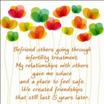 Befriend others Going Through Infertility treatment. My Relationships With Others gave Me Solace And A Place To Feel Safe. - Awareness Quote