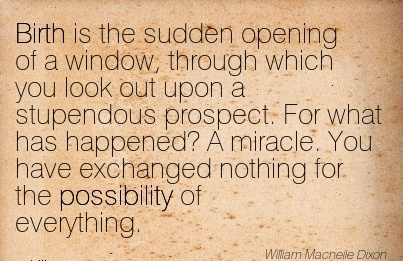 Birth Is The Sudden Opening Of A Window, Through Which You Look Out Upon A Stupendous Prospect. For What Has Happened! …. - William Macneile Dixon