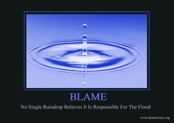 Blame No Single Raindrop Believes IT IS Responsible For The Flood.