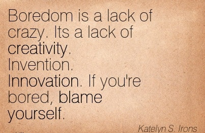 Boredom Is A Lack Of Crazy. Its A Lack Of Creativity. Invention. Innovation. If You're Bored, Blame Yourself. - Katelyn S. Irons