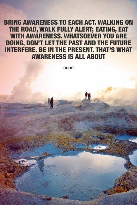 Bring Awareness TO Each Act. Walking On The Road, Walk Fully Alert; Eating, Eat With Awareness…. That's what Awareness Is All About. - Osho