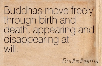 Buddhas Move Freely Through Birth And Death, Appearing And Disappearing at Will. - Bodhidharma