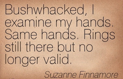 Bushwhacked, I examine my hands. Same hands. Rings still there but no longer valid. - Suzanne Finnamore - Cheating Quotes