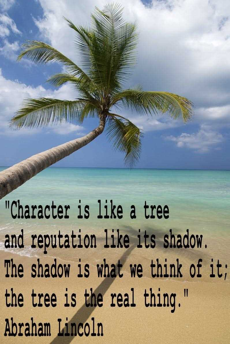 Character Is Like A Tree And Repuation Like Its Shadow. The Shadow Is what We Think Of It; The Tree is the Real Thing. - Abraham Lincoln