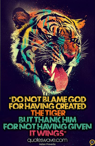 """ Do Not Blame God For Having Created The Tiger But Thank Him For Not Having Given It Wings "" ~ Blame Quotes"