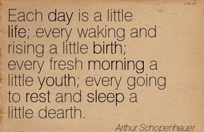 Each Day Is A Little Life Every Waking And Rising A Little Birth Every Fresh Morning A Little Youth Every Going To Rest And Sleep A Little Dearth. - Arthur Schoprnhauer