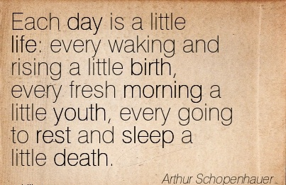 Each Day Is a Little Life Every Waking And Rising A Little Birth, Every Fresh Morning A Little Youth, Every Going To Rest And Sleep A Little Death. - Arthur Schopenhauer