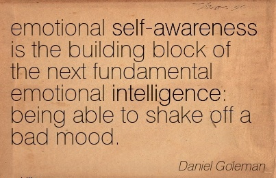 Emotional Self- Awareness Is The Building Block Of The Next Fundamental Emotional Intelligence; Being Able To Shake Off A Bad Mood. - Daniel Goleman