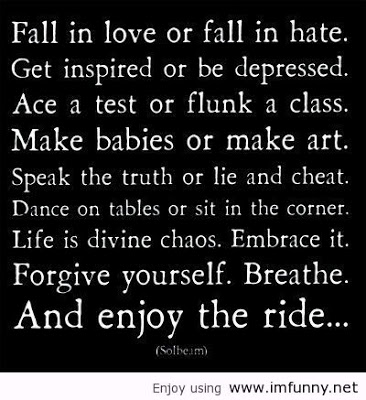 Fall In Love or Fall In Hate. Get Inspired or be Depressed. Ace a Test or Flunk a Class. Make Babies or Make Art. Speak the Truth or Lie and Cheat ~ Cheating Quote
