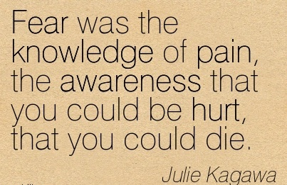 Fear Was The Knowledge Of Pain, The Awareness That You Could Be Hurt, That You Could Die. - Julie Kagawa