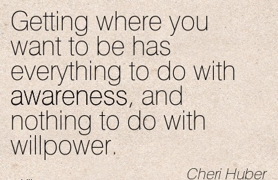 Getting Where You Want To Be Has Everything To Do With Awareness, And Nothing To Do With Willpower. - Cheri Hurber