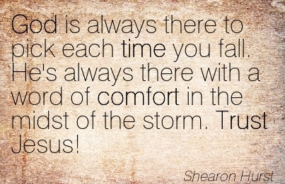 God is Always there to Pick Each Time you fall. He's always there with a word of Comfort in the Midst of the Storm. Trust Jesus! - Shearon Hurst