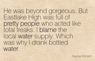 He Was Beyond Gorgeous. But Eastlake High Was Full Of Pretty People .. I Blame The Local Water Supply. Which Was Why I Drank Bottled Water. - Rachel