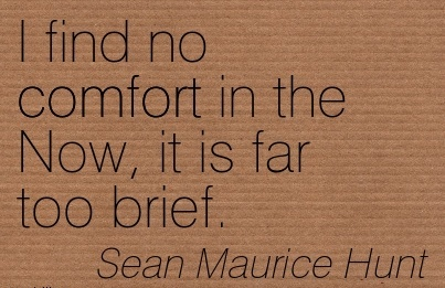 I Find No Comfort in the Now, it is Far too Brief. - Sean Maurice Hunt